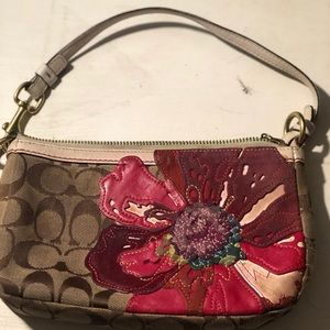 Limited edition poppy Coach canvas shoulder bag